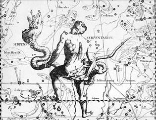 Созвездие Змееносца из атласа Яна Гевелия (XVII век)