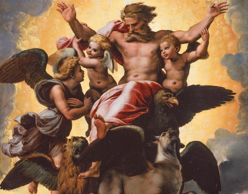 Рафаэль Санти. Видение пророка Иезекииля, ок. 1518 г. Фрагмент. Флоренция, Палатинская галерея дворца Питти