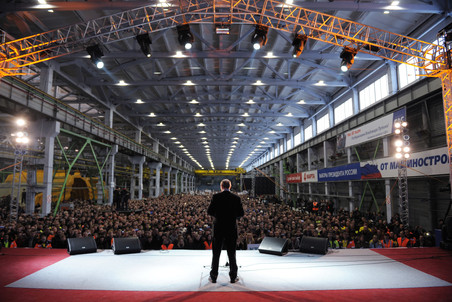 Премьер Владимир Путин выступил на митинге в поддержку кандидата в президенты Владимира Путина