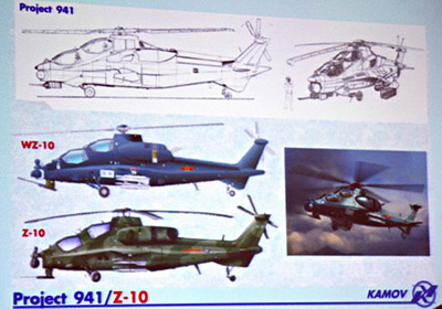 Сравнение проекта 941 и Z-10. Фото Flightglobal с презентации Михеева