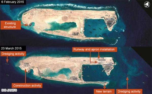 Спутниковый снимок рифа «Огненный крест» (Fiery Cross Reef). Фотография: CNES 2015, Distribution Airbus DS / Spot Image / IHS