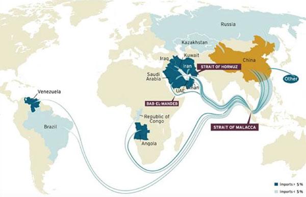 Географическая структура поставок нефти в КНР. Фотография: The Brookings Institution, 2014