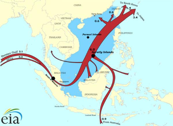 Поставки СПГ в КНР через Южно-Китайское море. Фотография: U.S. Energy Information Administration, 2014