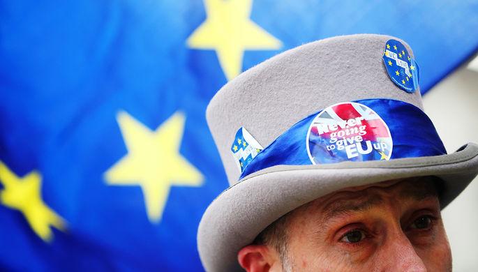 Участник демонстрации против выхода Великобритании из ЕС в Лондоне