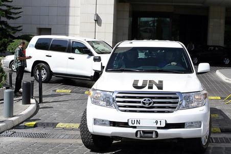 Автомобили инспекции ООН по химическому оружию в Дамаске