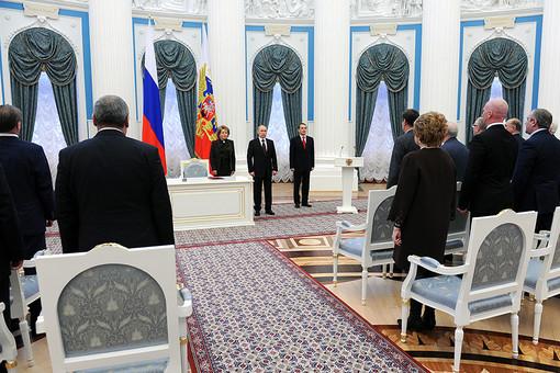 Подписание закона «О принятии в Российскую Федерацию Республики Крым» в Екатерининском зале Кремля
