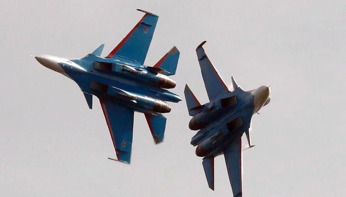 МинобороныРФ показало боевой «ромб» ивысший пилотаж Су-30СМ
