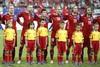 футболисты сборной Чезии исполняют национальный гимн