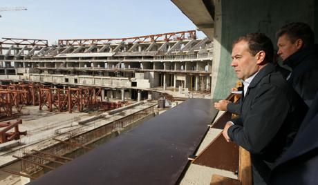 Дмитрий Медведев на питерском стадионе «Зенит-Арена»