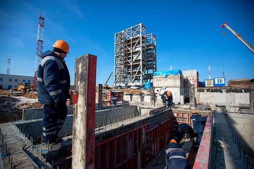 Рабочие на строительстве стартового комплекса космодрома «Восточный»