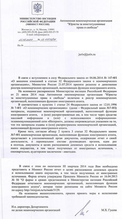 Постановление о включении в реестр НКО-иностранных агентов