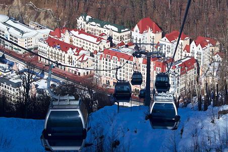 Вид на горнолыжный курорт «Роха Хутор»
