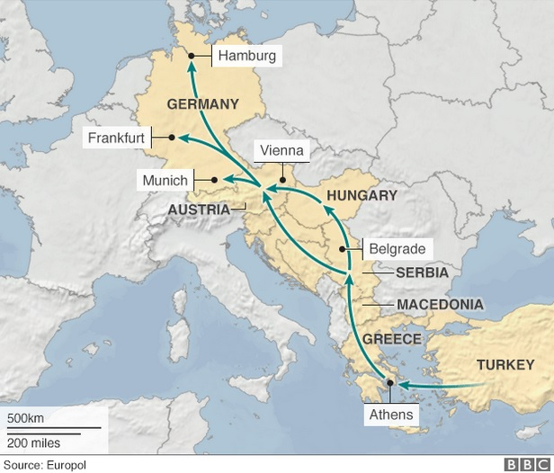 Путь мигрантов из стран Ближнего Востока в Германию. Источник: BBC/Europol