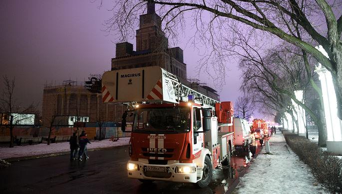 Вцентральной части Москвы случилось возгорание ввоенном общежитии академииВС РФ