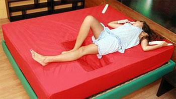 Bedroom interior design floating bed unfinished walls