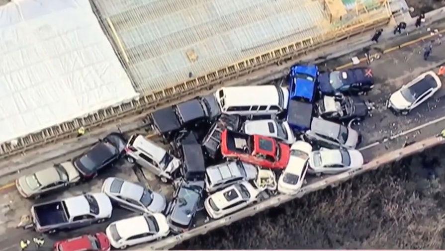 ВСША произошла авария сучастием 69 авто , неменее  50 пострадавших