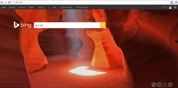 Пародийный домен abc.wtf перекидывал пользователей на поиск Bing