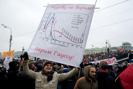 There were math scientist on the protest rally in Bolotnaya square showing Gaussian formula