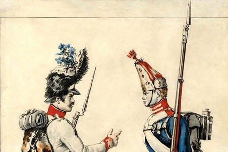Австрийский и русский гренадер. 1813