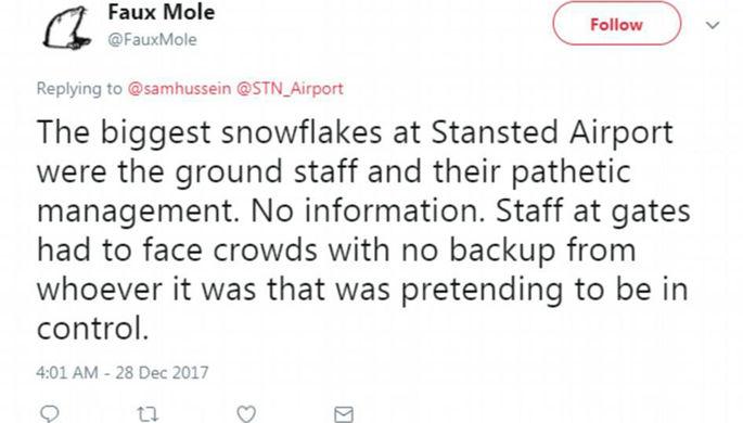 Непогода вызвала коллапс влондонском аэропорту Станстед
