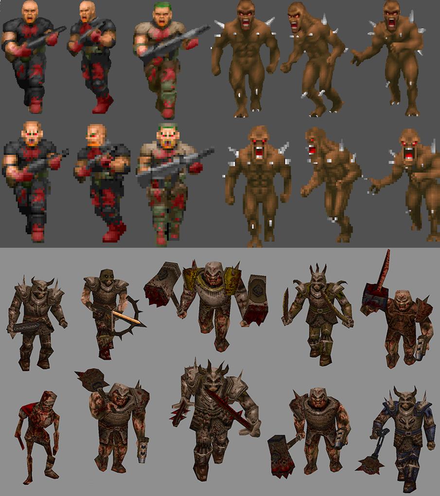 Спрайтовые персонажи Doom и трехмерные в Quake