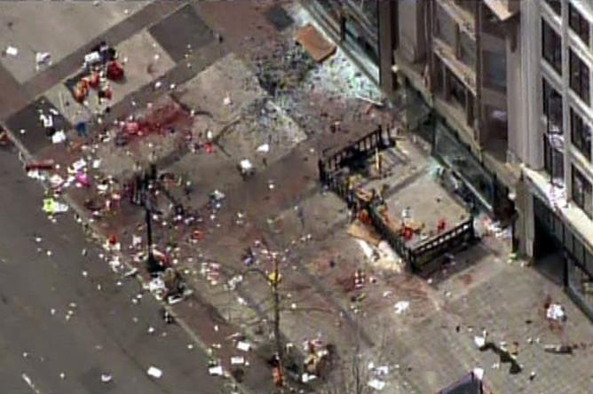 Общий план места взрыва в Бостоне