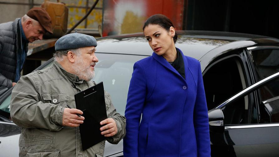 Анна Ковальчук на съемках сериала «Тайны следствия»