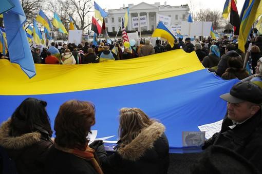 Митинг в поддержку новых властей Украины у Белого дома в Вашингтоне