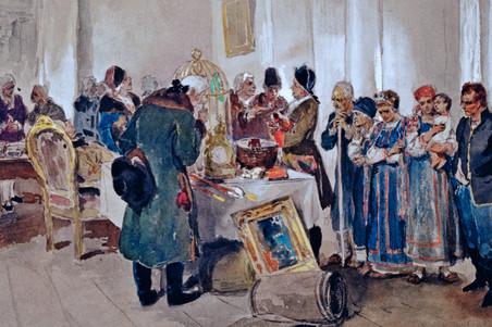 Продажа крепостных с аукциона. К. В. Лебедев. 1910 год