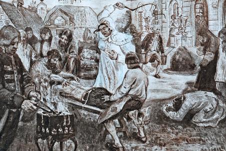 Изображение расправы помещицы Подольского уезда Д.Н. Салтыковой над крестьянами. П.В. Курдюмов. 1911 год
