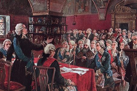 Заседание Уложенной комиссии в 1767 году. М. Зайцев. Начало ХХ века