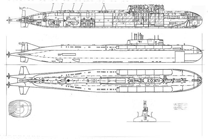 Схема АПЛ «Курск»