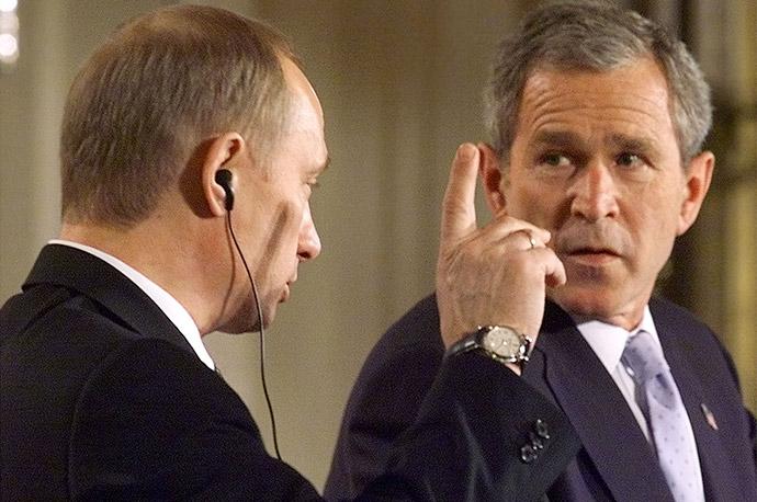 Владимир Путин и Джордж Буш-младший в Белом доме, 2001 год