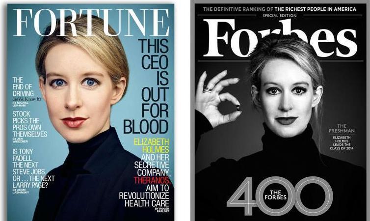 Элизабет Холмс на обложках Forbes и Fortune