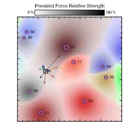 Та же область, что на первой картинке, но цветами показаны зоны, где гравитация каждого из плотных молекулярных облаков доминирует. Частичка межзвездной среды, показанная маленьким квадратиком, может присоединиться к каждому из плотных облаков с вероятностью, пропорциональной гравитационной силе, создаваемой им