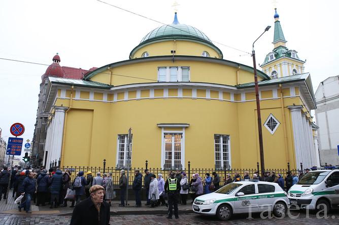 Прощание с Михаилом Задорновым в церкви Александра Невского в Риге, 15 ноября 2017 года