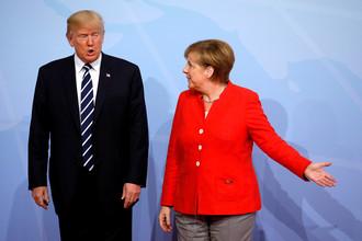 Президент США Дональд Трамп и канцлер Германии Ангела Меркель во время саммита G20 в Гамбурге, июль 2017 года