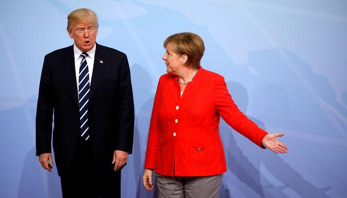 Президент США Дональд Трамп и канцлер Германии Ангела Меркель во время саммита G20 в Гамбурге, июль...