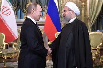 Владимир Путин и президент Ирана Хасан Роухани во время встречи в Кремле, 2017 год