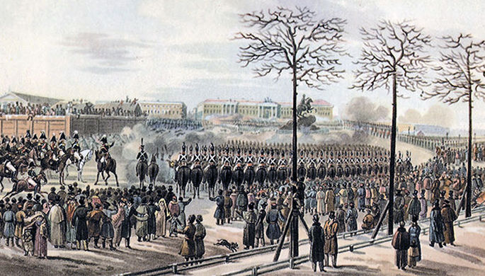 Санкт-Петербург. Сенатская площадь 14 декабря 1825 года. Рисунок Кольмана из кабинета графа Бенкендорфа в Фалле.