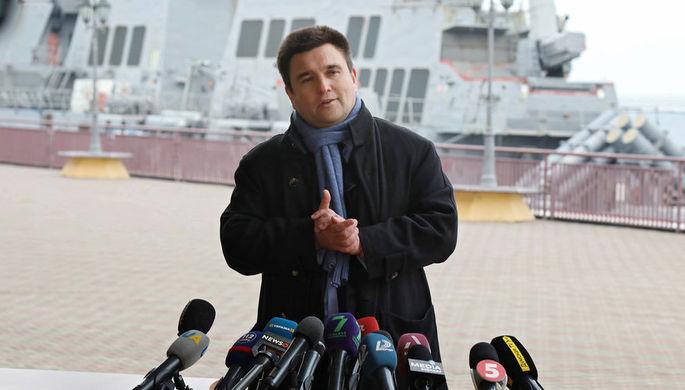 Министр иностранных дел Украины Павел Климкин во время брифинга в порту Одессы, 26 февраля 2019 года