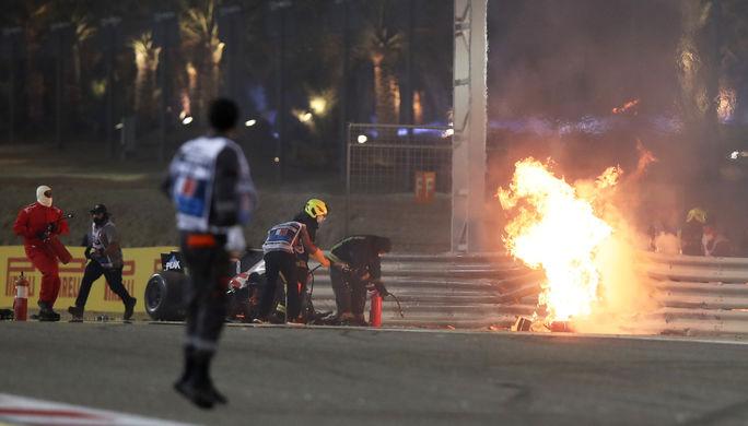 Авария пилота «Хаас» Ромена Грожана на Гран-при Бахрейна «Формулы-1»