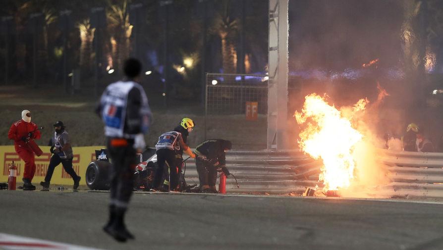 Попавший в страшную аварию гонщик Грожан выписан из госпиталя