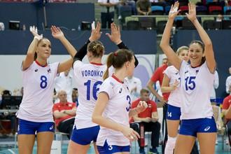 Сборная России играет с командой Болгарии на ЧЕ по волейболу