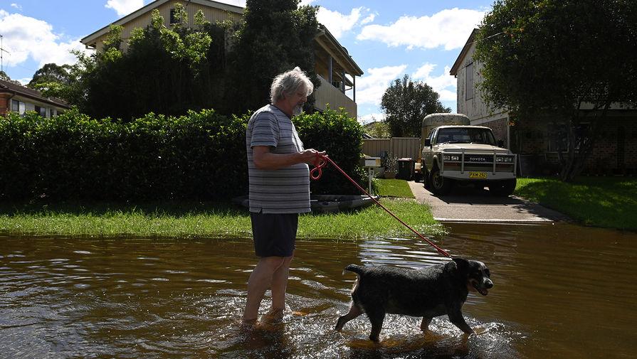 Местный житель выгуливает свою собаку во время наводнения в городе Саут-Уинсор, штат Новый Южный Уэльс, Австралия, 24 марта 2021 года