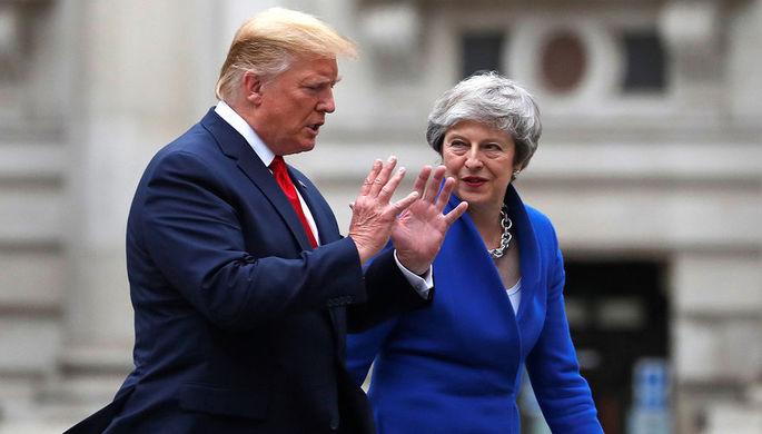 Президент США Дональд Трамп и премьер-министр Великобритании Тереза Мэй перед совместной пресс-конференцией в Лондоне, 4 июня 2019 года