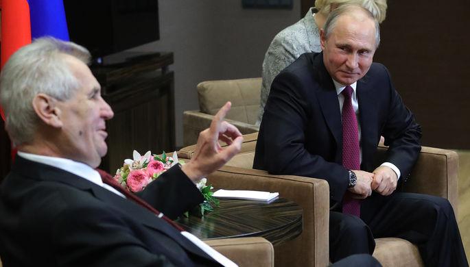Президент России Владимир Путин и президент Чехии Милош Земан во время встречи, 2017 год