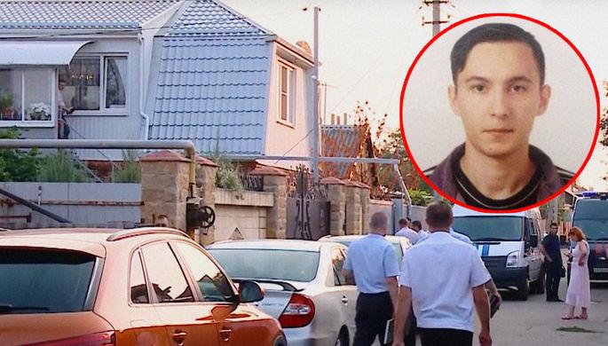 Кадр из репортажа об убийстве и фотография Дениса Данилова из пресс-релиза Следственного комитета о его розыске, коллаж