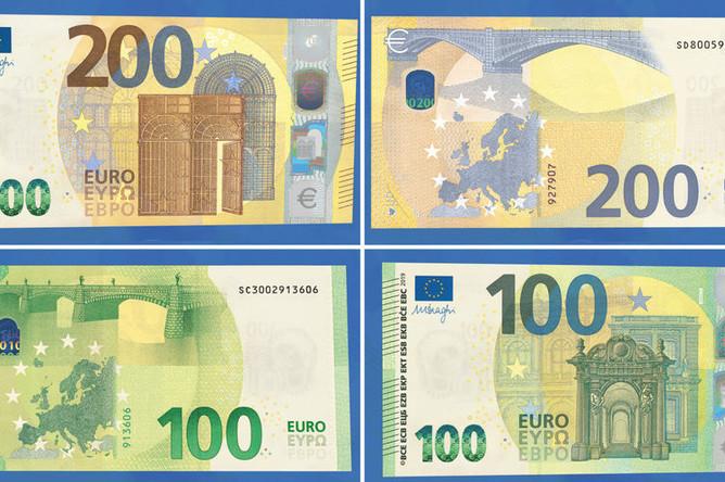 Новые банкноты в размере €100 и €200, которые выйдут в обращение 28 мая 2019 года