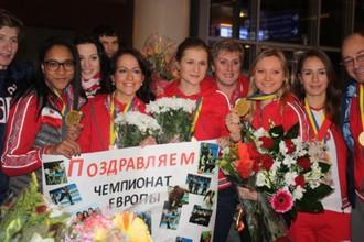 Российские керлингистки после возвращения с победного ЧЕ